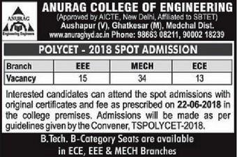 Anurag Ghatkesar Spot Admission 2018