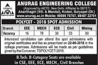Anurag Kodad Spot Admission 2018